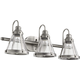 3 Light Banded Cone Vanity In Antique Silver