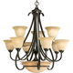 Progress P4418-77 Nine-light chandelier in Forged Bronze finish with tea stained glass.