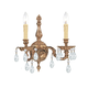 Crystorama 2502-OB-CL-SAQ Ornate Cast Brass Wall Sconce Accented with Swarovski Spectra Crystal