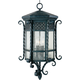 Maxim 30129CDCF Scottsdale 3-Light Outdoor Hanging Lantern in Country Forge with Seedy glass.