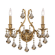 Crystorama 5142-AG-GTS Ornate Aged Brass Sconce Accented with Golden Teak Swarovski Elements Crystal