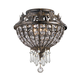 Crystorama 5163-EB-CL-MWP Wrought Iron Hand Cut Lead Crystal Flush Mount