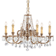 Crystorama 2806-OB-CL-S Ornate Cast Brass Chandelier Accented with Clear Hand Cut Crystal
