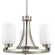 Progress P3954-09 3-Lt. Convertible in Brushed Nickel finish with etched opal glass.