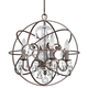 Crystorama 9025-EB-CL-MWP Chandelier with hand-painted wrought iron sphere and a crystal chandelier dressed with clear hand-cut crystals.