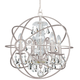 Crystorama 9025-OS-CL-MWP Chandelier with hand-painted wrought iron sphere and a crystal chandelier dressed with clear hand-cut crystals.
