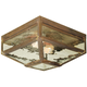 Meyda Tiffany 102519 Plain Mission Flushmount in Vintage Copper finish with Clear Waterglass