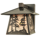 Meyda Tiffany 111694 Stillwater Tall Pine Trees Solid Mount Wall Sconce in Craftsman Brown finish