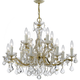 Maria Theresa 12 Light Clear Crystal Gold Chandelier