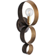 Luna 1 Light Bronze and Gold Sphere Sconce