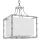 Libby Langdon for Crystorama Masefield 4 Light White Linen Silver Pendant