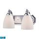 2 Light Vanity In Polished Chrome And Snow White Glass - LED - 800 Lumens (1600 Lumens Total) With…