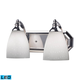 2 Light Vanity In Polished Chrome And Simply White Glass - LED - 800 Lumens (1600 Lumens Total) Wi…
