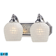 2 Light Vanity In Polished Chrome And White Mosaic Glass - LED - 800 Lumens (1600 Lumens Total) Wi…