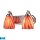 2 Light Vanity In Satin Nickel And Multi Glass - LED - 800 Lumens (1600 Lumens Total) With Full Sc…