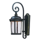 Dover LED 1-Light Outdoor Wall Lantern in Bronze w/Seedy Glass