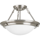 Eclipse Brushed Nickel 2-Lt. close-to-ceiling with Satin white glass bowl