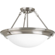 Eclipse Brushed Nickel 3-Lt. close-to-ceiling with Satin white glass bowl