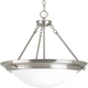 Eclipse Brushed Nickel 3-Lt. Pendant with Satin white glass bowl
