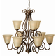 Craftmade Exteriors Cecilia - Peruvian Bronze 9 Light Chandelier in Peruvian Bronze
