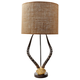 Natural Faux Horn Lamp With Burlap Shade