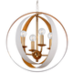 Luna 4 Light White and Gold Sphere Chandelier