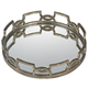 Tray - Iron Scroll Mirrored Tray - Glass and Metal