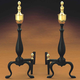 Black and Brass Urn Andirons