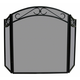 3 Fold Black Wrought Iron Arch Top Screen With Scrolls - 51.5