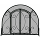 Single Panel Black Wrought Iron Ornate Screen With Doors - 39