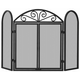 Uniflame S-1184 3 Fold Black Wrought Iron Screen With Scrolls