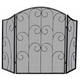 Uniflame S-1015 3 Panel Black Wrought Iron Screen With Decorative Scroll