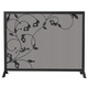 Uniflame S-1043 3 Fold Black Screen With Flowing Leaf Design