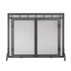 Flat Screen With Center Doors - Black - Door Screen - 39