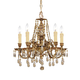 Crystorama 2805-OB-GT-MWP Ornate Cast Brass Chandelier Accented with Golden Teak Polished Crystal
