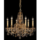 Crystorama 2806-OB-GT-MWP Ornate Cast Brass Chandelier Accented with Golden Teak Hand Polished Crystal