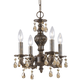 Crystorama 5024-VB-GT-MWP Golden Teak Hand Cut Crystal Convertible Chandelier