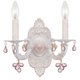 Crystorama 5200-AW-ROSA Sutton Collection Natural Wrought Iron Wall Sconce Accented with Murrano Crystal