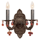 Crystorama 5200-VB-AMBER Sutton Collection Natural Wrought Iron Wall Sconce Accented with Murrano Crystal