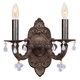 Crystorama 5200-VB-CLEAR Sutton Collection Natural Wrought Iron Wall Sconce Accented with Murrano Crystal