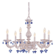 Crystorama 5226-AW-BLUE Sutton Collection Wrought Iron Chandelier Draped with Blue Murano Crystal Drops