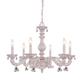 Abbie Wrt Iron Chandelier Drpd with Clr Murano Crys Drops