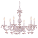 Crystorama 5226-AW-ROSA Sutton Collection Wrought Iron Chandelier Draped with Rosa Murano Crystal Drops
