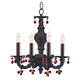 Crystorama 5224-VB-AMBER Sutton Collection Wrought Iron Convertible Chandelier Draped with Amber Murano Crystal Drops