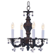 Crystorama 5224-VB-CLEAR Sutton Collection Wrought Iron Convertible Chandelier Draped with Clear Murano Crystal Drops