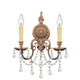 Crystorama 2702-OB-CL-MWP Ornate Cast Brass Wall Sconce Accented with Hand Cut Crystal