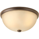 Random Antique Bronze 2-Lt. close-to-ceiling fixture. with Light Umber Etched glass shade
