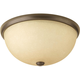 Random Antique Bronze 2-Lt. close-to-ceiling fixture. with Etched Umber Linen glass shade