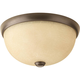 Random Antique Bronze 1-Lt. close-to-ceiling fixture. with Etched Umber Linen glass shade