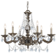 CLOSEOUT SPECIAL - Paris Flea Market Collection Wrought Iron Chandelier in Venetian Bronze w/Hand Polished Crystal.